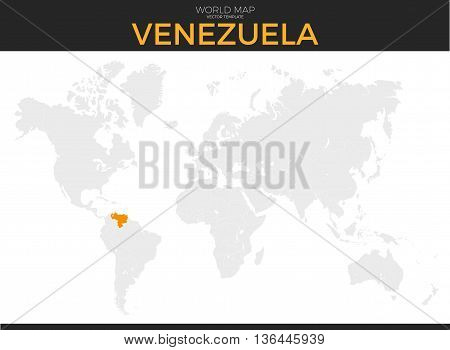 Bolivarian Republic of Venezuela location modern detailed vector map. All world countries without names. Vector template of beautiful flat grayscale map design with selected country and border location