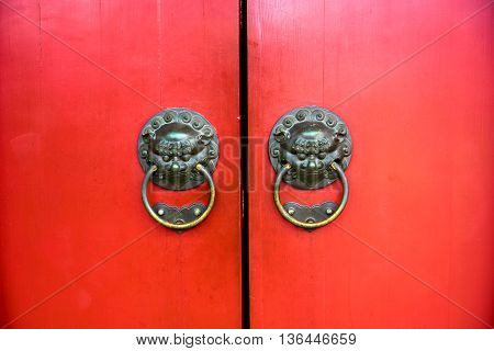traditional oriental chinese style door in temple