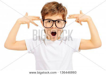 Thoughtful smart boy wearing big glasses. Education. Optics. Studio shot. Isolated over white.