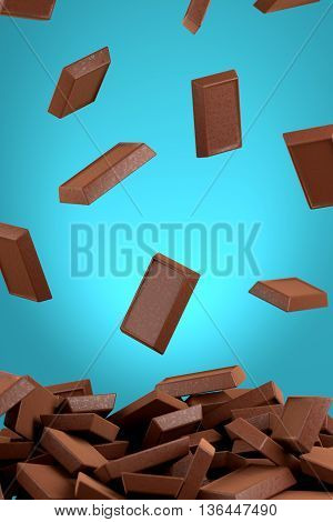 Chocolate Pieces Falling On Chocolate Pile, 3D Rendering