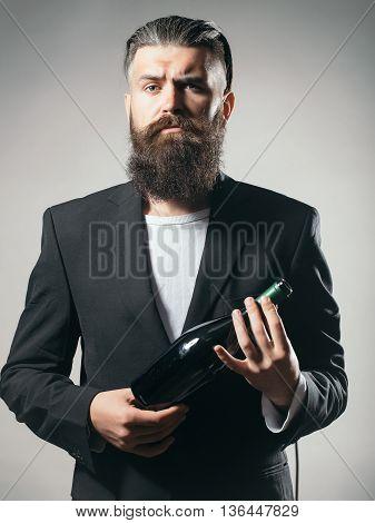 Bearded Man With Wine Bottle