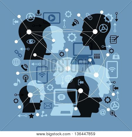 Social network and teamwork concept for web and infographic. Silhouette human heads. Abstract network - point connected by dotted lines. Icons adverse communication and technology.