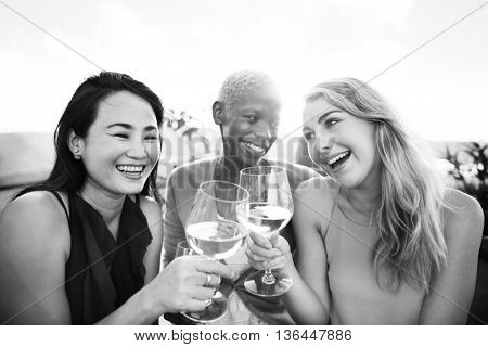 Girls Cheers Drinking Toast Talking Chilling Concept