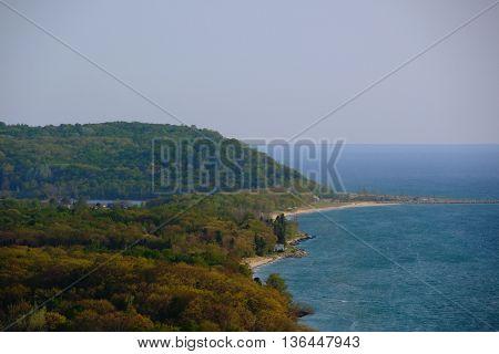 Scenic Lake Michigan overlook near Arcadia, MI, USA