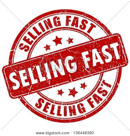 Selling fast rubber stamp isolated on white background