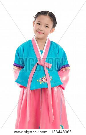 Asian girl in Korean Traditional Dress on white background isolated