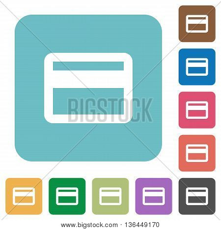 Flat credit card icons on rounded square color backgrounds.