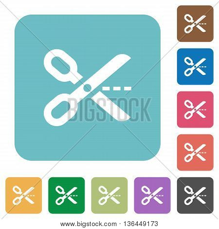 Flat cut out icons on rounded square color backgrounds.