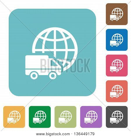 Flat international transport icons on rounded square color backgrounds.