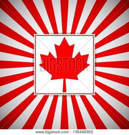 Canada day vector background. Vector poster for all Canadian national holidays. Background with red and white rays and red maple leaf.
