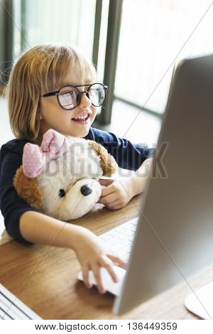 Girl Computer Technology Networkning Connection Online Concept