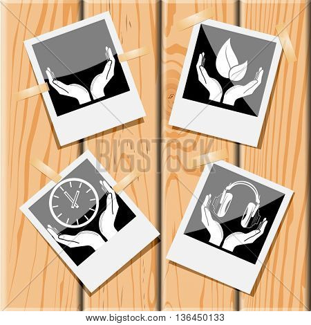 4 images: human hands, life in hands, headphones in hands, clock in hands. In hands set. Photo fframes on wooden desk. Vector icons.
