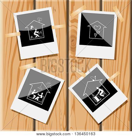 4 images: home inspiration, flower shop, home celebration, home work. Home set. Photo fframes on wooden desk. Vector icons.
