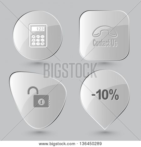 4 images: calculator, contact us, opened lock, -10%. Business set. Glass buttons on gray background. Vector icons.
