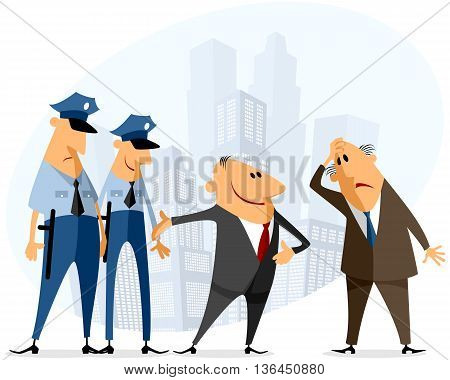 Vector illustration of a businessmen and policeman