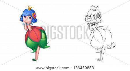 Coloring Book and Princess Girl Character Design Set 18 Lovely Attractive Cute Flower Fairy Princess isolated on White Background Realistic Fantastic Cartoon Style Character Story Card Sticker Design