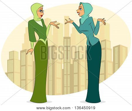 Vector illustration of a two women in city