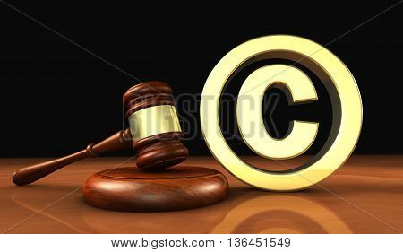 Copyright and digital copyright laws and intellectual property concept 3D illustration with symbol and icon on black background.