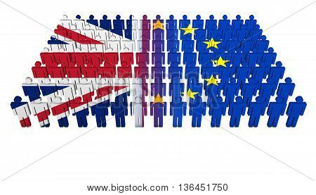 Brexit British referendum concept with Union Jack and EU flag on a splitted people parade 3D illustration on white background.