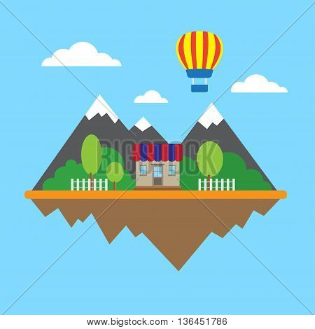 Flat wallpaper with mountains, house balloon background