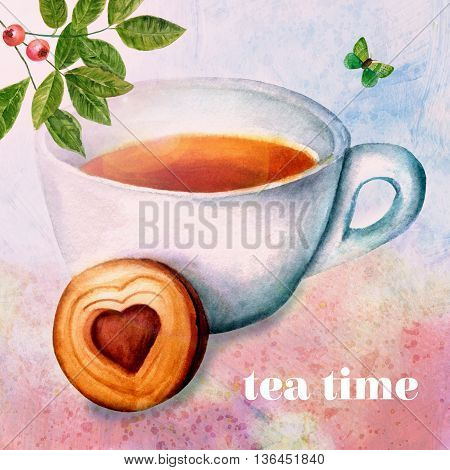 'Tea Time' concept: vintage style collage with watercolor branch of green leaves with berries butterfly and cup of tea with biscuit with heart-shaped cream filling on abstract background textures