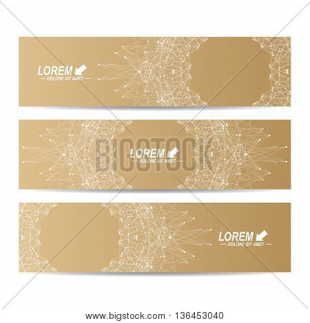 Geometric abstract golden banners. Molecule and communication background for website templates. Geometric abstract background with connected line and dots. Vector illustration