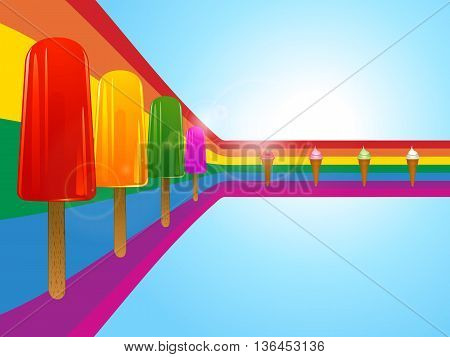 Row of Ice Lollies and Ice Cream Over Curved Rainbow on Sunny Sky Background with Lens Flares