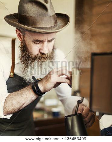 Coffee Mill Barista Appliance Apron Steam Apron Concept