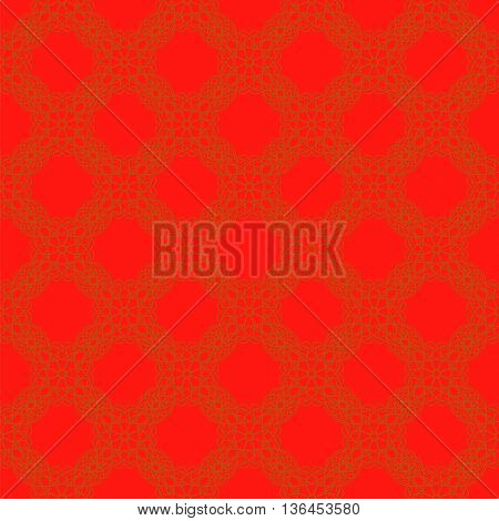 Seamless Texture on Red. Element for Design. Ornamental Backdrop. Pattern Fill. Ornate Floral Decor for Wallpaper. Traditional Decor on Background