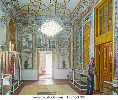 BUKHARA UZBEKISTAN - APRIL 29 2015: The beautiful interior of the Museum of Costume of Sitorai Mokhi-Khosa Complex on April 29 in Bukhara.