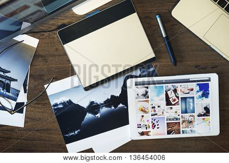 Digital Tablet Photography Design Studio Editing Concept