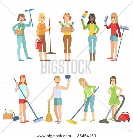 Adult People Cleaning Up Indoors Set Of Simple Cartoon Flat Vector Colorful Characters On White Background