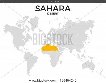 Sahara desert location modern detailed vector map. All world countries without names. Vector template of beautiful flat grayscale map design with Sahara desert border location and counties names