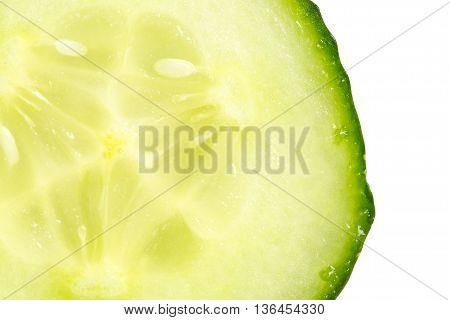 Close up slice of fresh cucumber on white