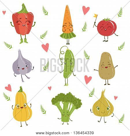 Funny Girly Design Vegetables Set Of Adorable Flat Cartoon Humanized Vector Drawn Characters