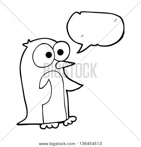 freehand drawn speech bubble cartoon penguin with big eyes