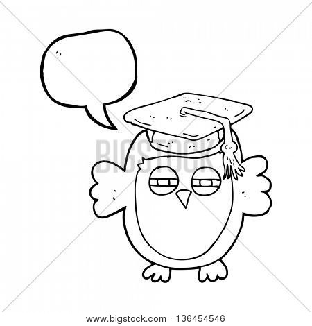 freehand drawn speech bubble cartoon clever owl