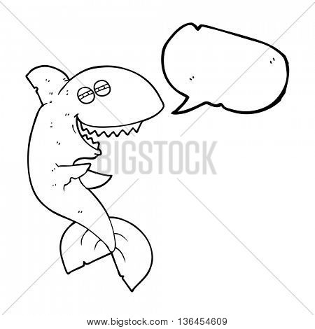 freehand drawn speech bubble cartoon laughing shark