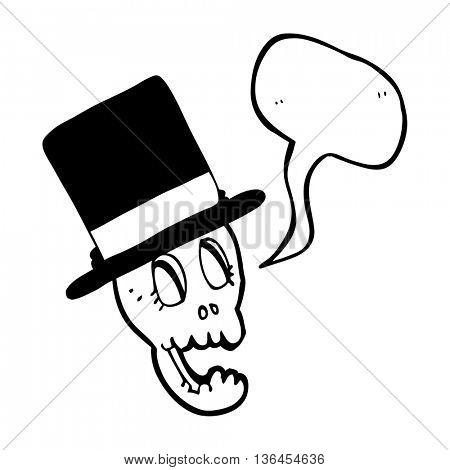 freehand drawn speech bubble cartoon skull wearing top hat