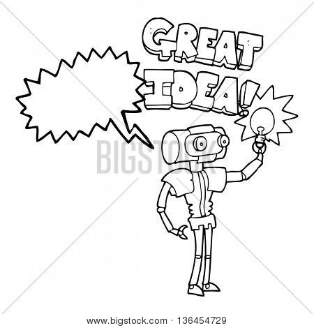 freehand drawn speech bubble cartoon robot with great idea