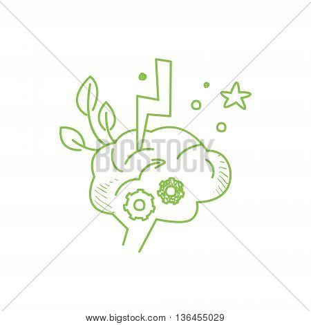 Symbolic Thinking Process Inside The Brain Funny Hand Drawn Childish Illustration In Funny Comic Style On White Background