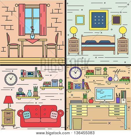 Thin line rooms interiors house vector set