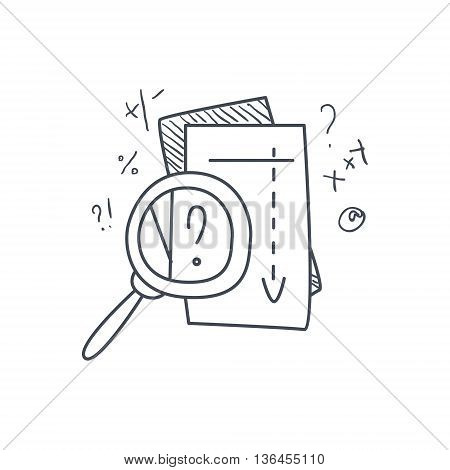 Math Problem Solvong Process Funny Hand Drawn Childish Illustration In Funny Comic Style On White Background