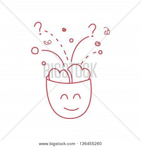 Character With The Brain Full Of Ideas Funny Hand Drawn Childish Illustration In Funny Comic Style On White Background