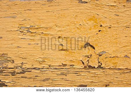 Old Woodan Wall, Shabby Yellow Paint As Background