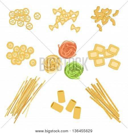 Classic Italian Pasta Types Set Of Simple Realistic Flat Vector Icons Isolated On White Background