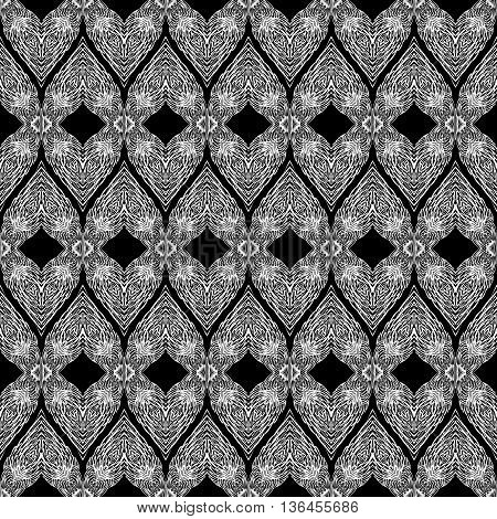 Seamless Pattern with Elements of Doodle Feather on Black Background
