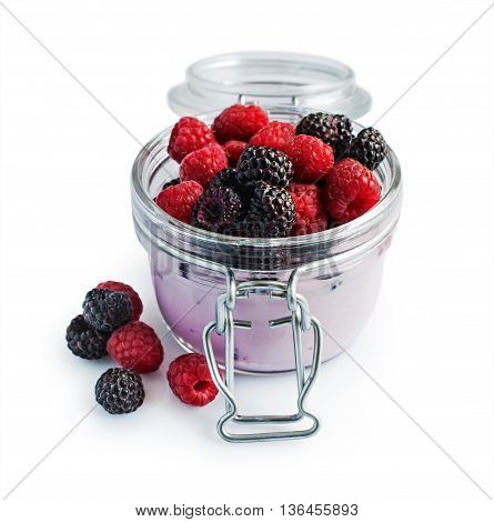 Yogurt With Red And Black Raspberries