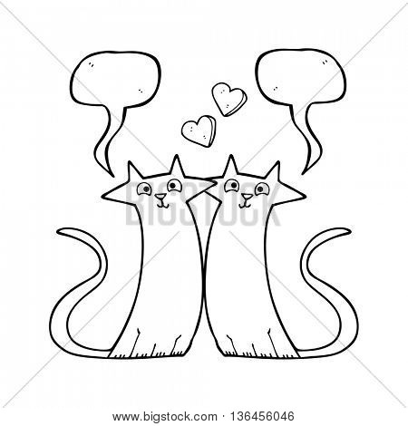 freehand drawn speech bubble cartoon cats in love