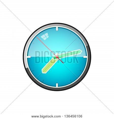 Watch, Wall Clock Isolated on White Background, Vector Illustration